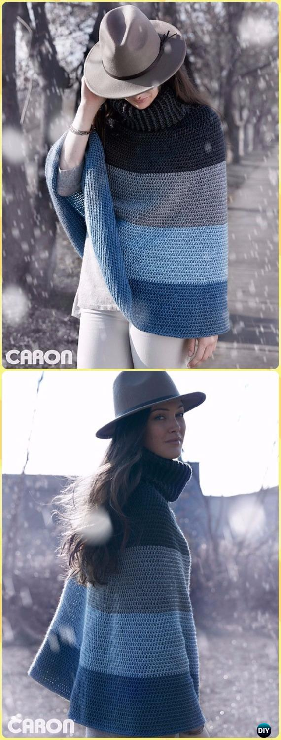 Crochet Cozy Cowl Cape Poncho Free Pattern - Crochet Women Capes & Poncho Patterns