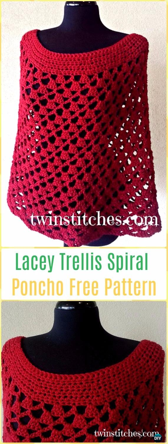Crochet Crochet Scarlett Spiral Poncho Free Pattern - Crochet Women Capes & Poncho Patterns
