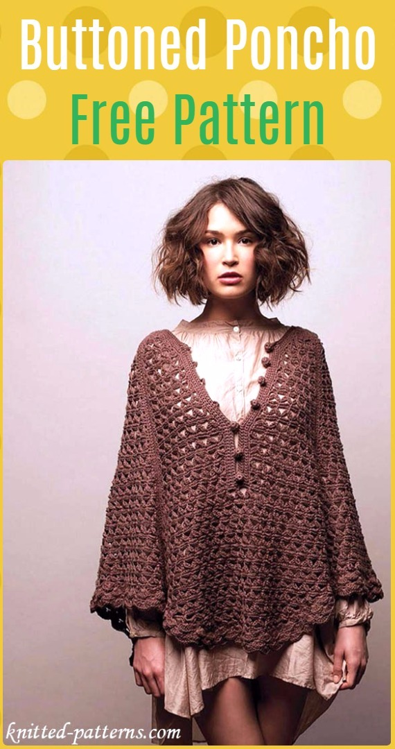 Crochet Buttoned Poncho Free Pattern - Crochet Women Capes & Poncho Patterns