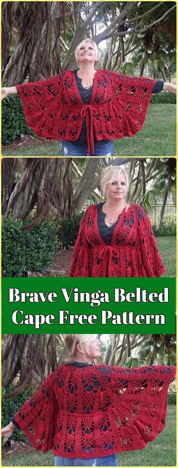 Crochet Brave Vinga Belted Cape Free Pattern- Crochet Women Capes & Poncho Patterns
