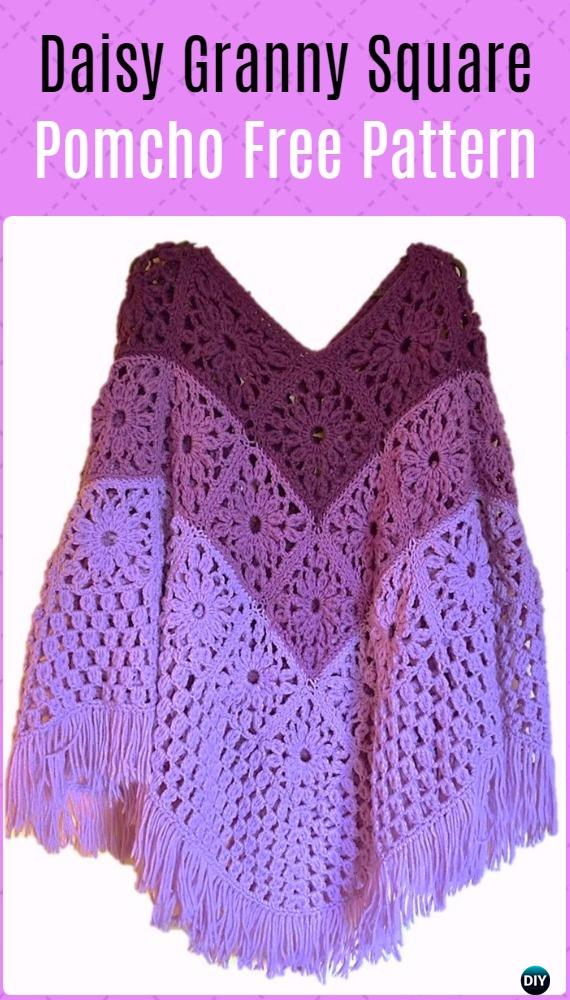 Crochet Daisy Granny Square Poncho Free Pattern  - Crochet Women Capes & Poncho Patterns