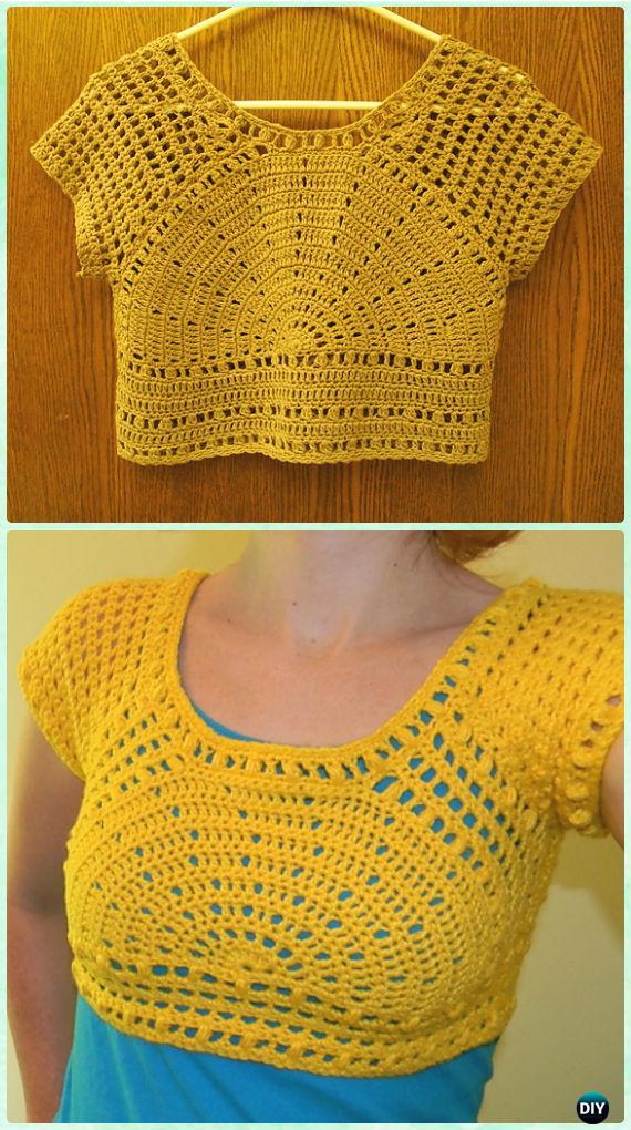 Crochet Women Summer Crop Top Free Patterns | 570 x 1020 jpeg 124kB
