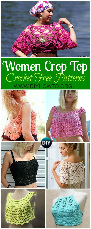 Collection of Crochet Women Summer Crop Top Free Patterns:  Fringed Tops, Beach Top, Bra Tops, Sleeveless Tops