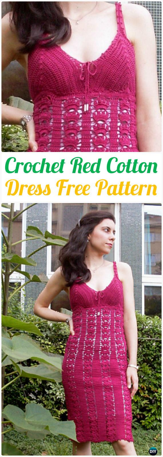 Crochet Red cotton Dress Free Pattern - Crochet Women Dress Free Patterns