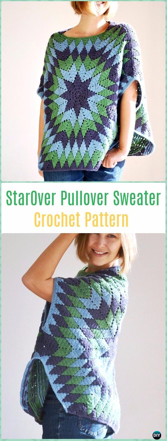 Crochet StarOver Pullover Sweater Paid Pattern - Crochet Women Pullover Sweater Patterns