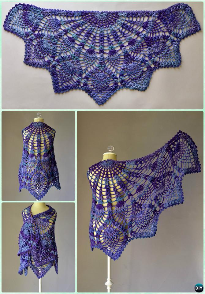 Crochet Pineapple Peacock Shawl Free Pattern - Crochet Women Shawl Sweater Outwear Free Patterns