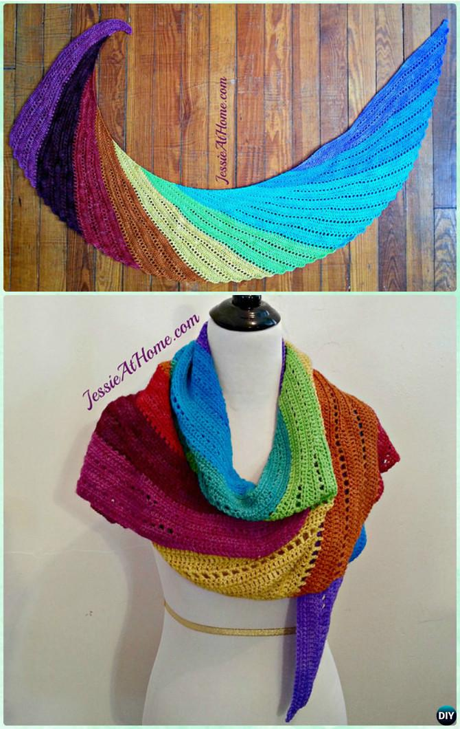 Crochet Spin Off Skylark Shawl Free Pattern - Crochet Women Shawl Sweater Outwear Free Patterns