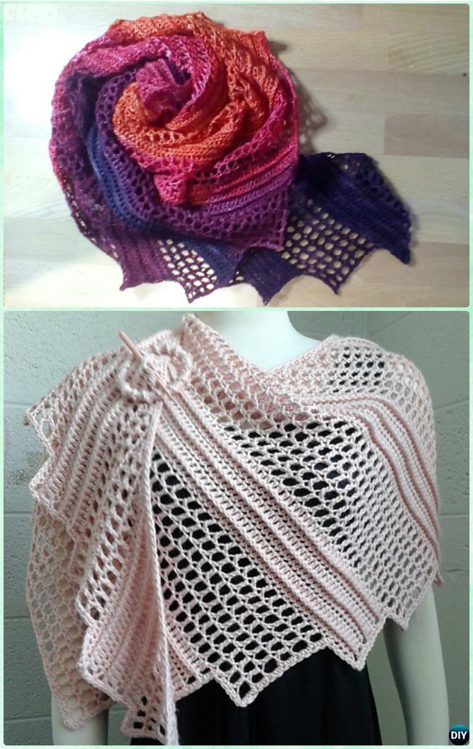 Crochet Lizard Shawl Free Pattern - Crochet Women Shawl Sweater Outwear Free Patterns