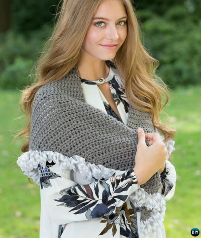 Crochet Be-Ruffled Shawl Free Pattern - Crochet Women Shawl Sweater Outwear Free Patterns