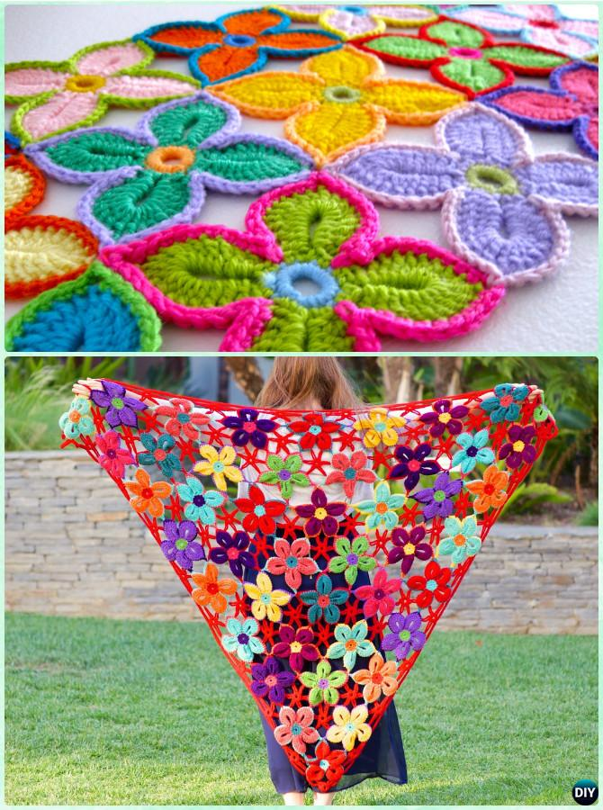 Crochet Hawaiian Flower Shawl Free Pattern - Crochet Women Shawl Sweater Outwear Free Patterns