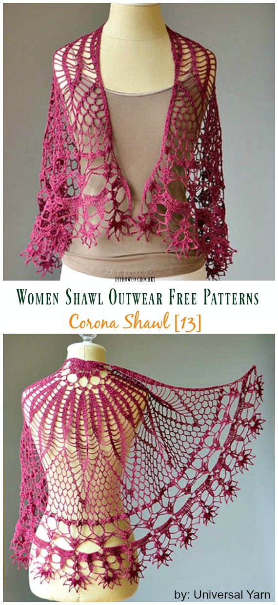 Corona Shawl Free Crochet Pattern - #Crochet; Women #Shawl; Sweater Outwear Free Patterns