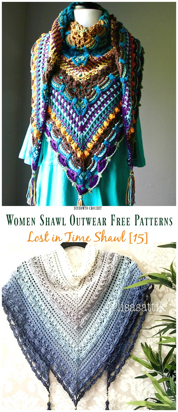 Lost in Time Shawl Free Crochet Pattern - #Crochet; Women #Shawl; Sweater Outwear Free Patterns