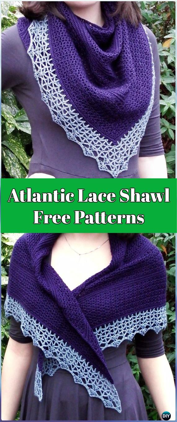 Crochet Atlantic Lace Shawl Free Pattern - Crochet Women Shawl Sweater Outwear Free Patterns