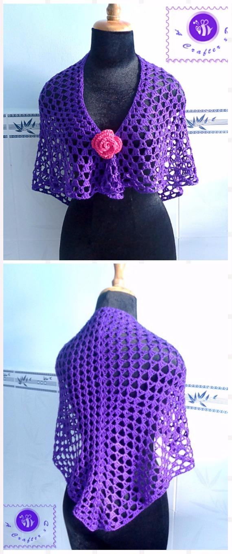 Crochet Purple glam shawl Free Pattern - Crochet Women Shawl Sweater Outwear Free Patterns