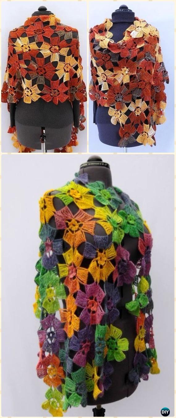 Crochet Amazing Flowers Wrap Shawl Free Pattern - Crochet Women Shawl Sweater Outwear Free Patterns
