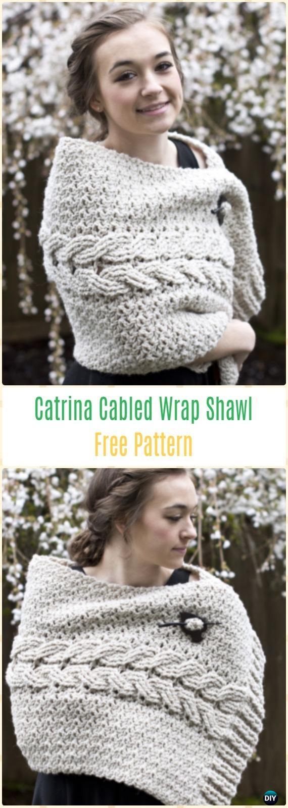 Crochet Ecological Wool Catrina Cabled Wrap Shawl Free Pattern - Crochet Women Shawl Sweater Outwear Free Patterns