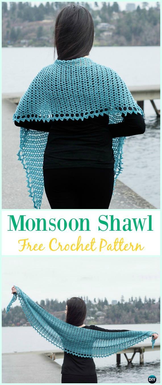Crochet Monsoon Shawl Free Pattern - #Crochet; Women #Shawl; Sweater Outwear Free Patterns