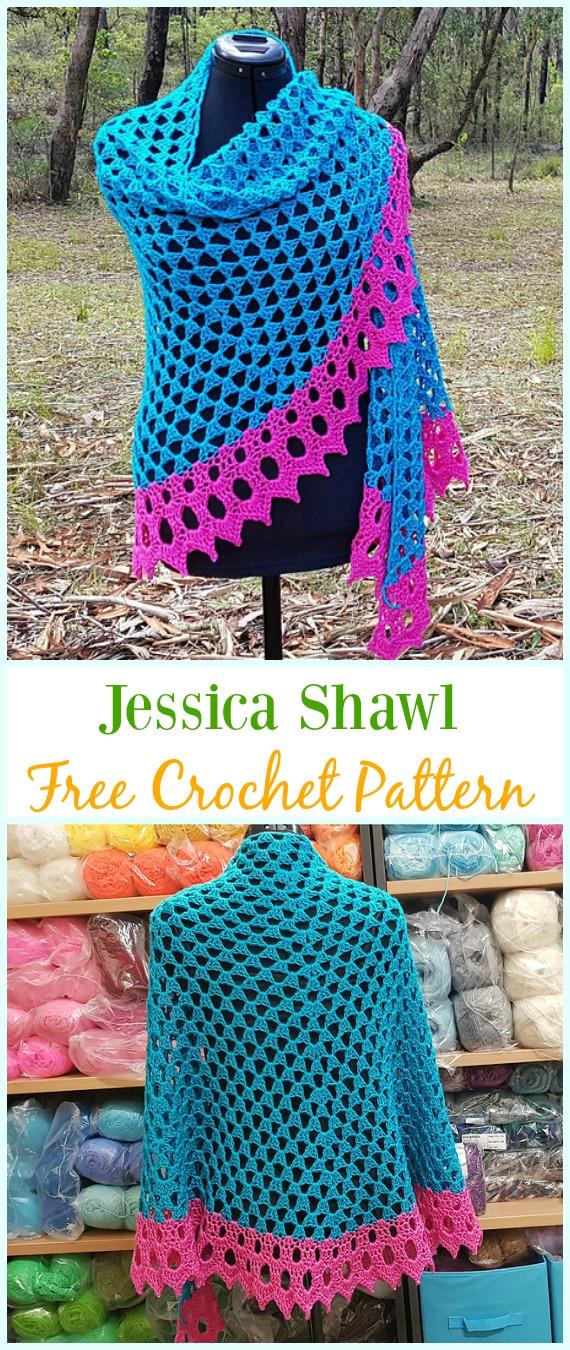 Crochet Jessica Shawl Free Pattern - #Crochet; Women #Shawl; Sweater Outwear Free Patterns
