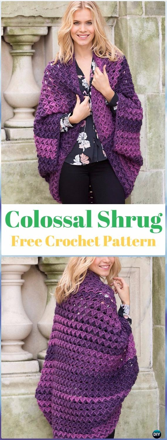 Crochet Colossal Shrug Free Pattern - Crochet Women Shrug Cardigan Free Pattern