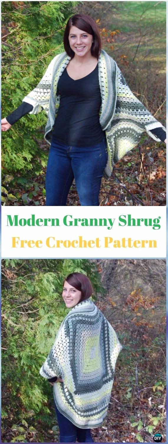 Crochet Modern Granny Shrug Free Pattern - Crochet Women Shrug Cardigan Free Pattern