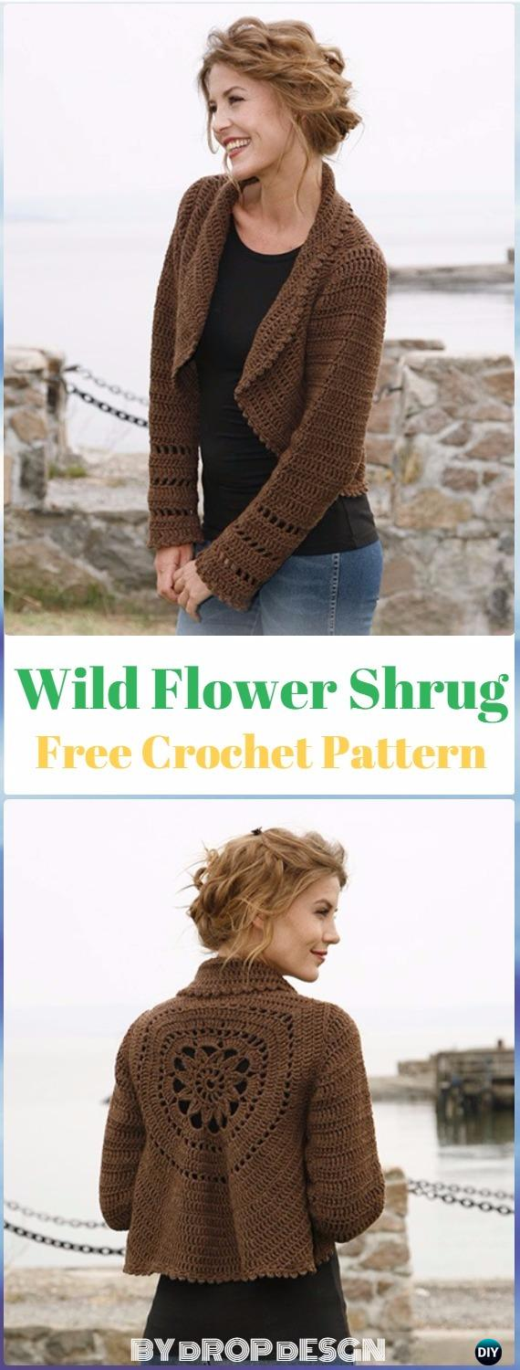 Crochet Wild Flower Shrug Free Pattern - Crochet Women Shrug Cardigan Free Pattern