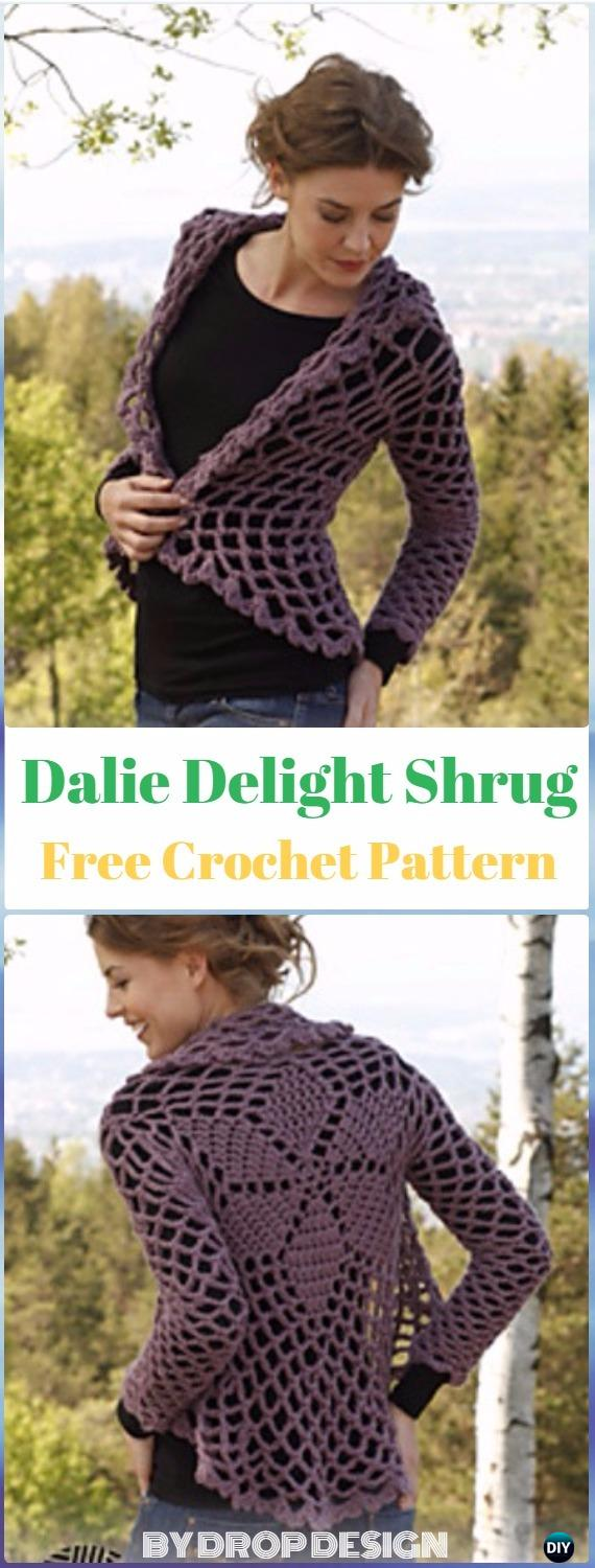 Crochet Dalie Delight Shrug Free Pattern - Crochet Women Shrug Cardigan Free Pattern