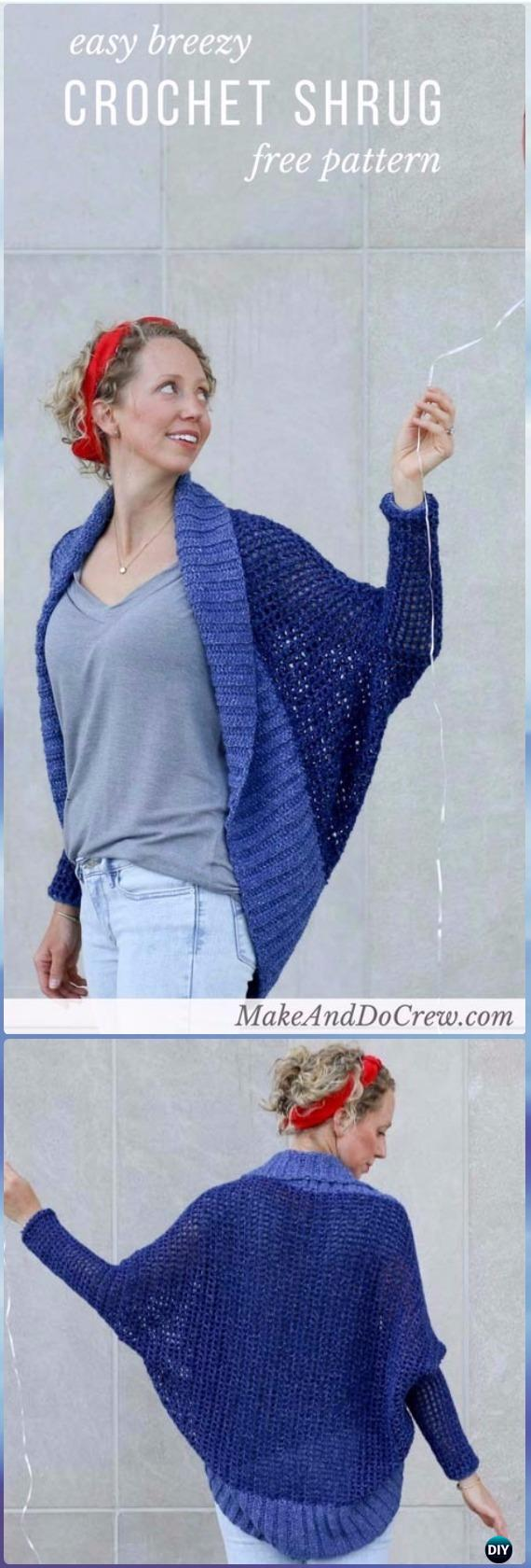 Easy Crochet Lightweight Shrug Free Pattern - Crochet Women Shrug Cardigan Free Pattern