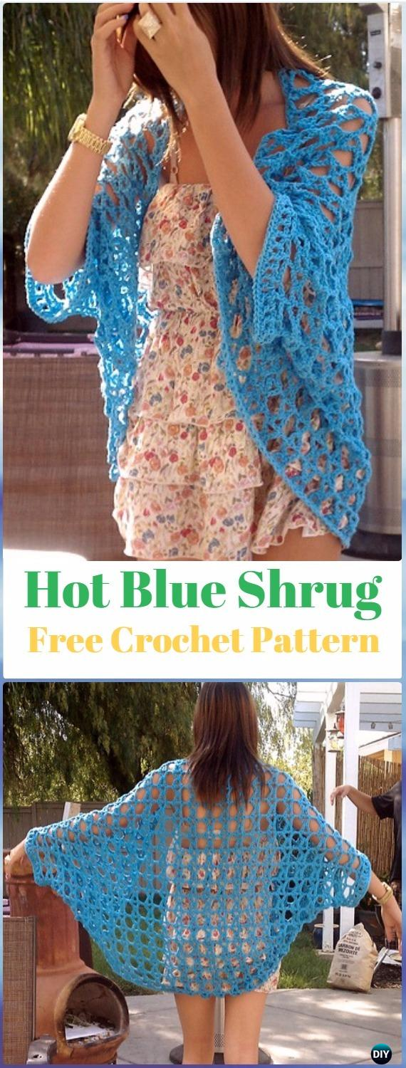 Crochet Hot Blue Shrug Free Pattern - Crochet Women Shrug Cardigan Free Pattern
