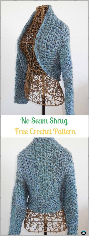 Crochet No Seam ShrugFree Pattern - Crochet Women Shrug Cardigan Free Patterns