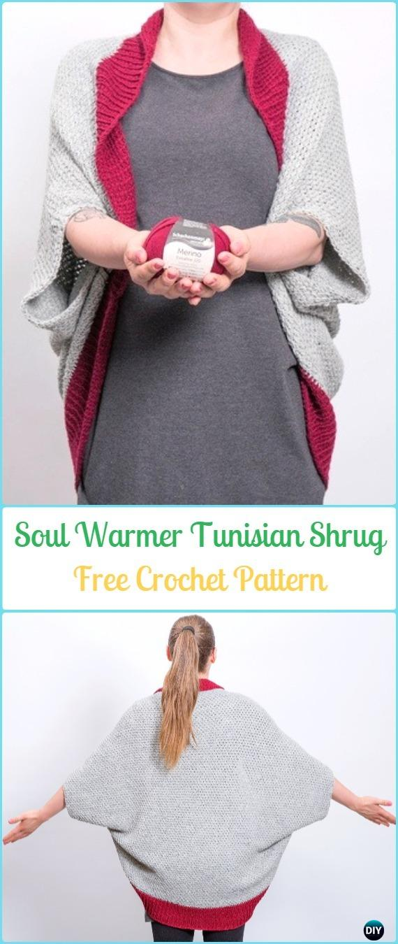 Crochet Soul WarmerTunisian Shrug Free Pattern - Crochet Women Shrug Cardigan Free Patterns