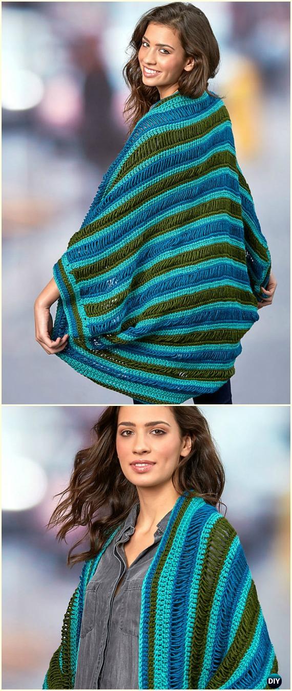 Crochet Dropstitch Cocoon Sweater Free Pattern - Crochet Women Shrug Cardigan Free Patterns