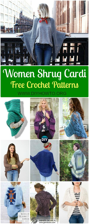 Crochet Women Shrug Cardigan Free Patterns Tutorials Diy How To