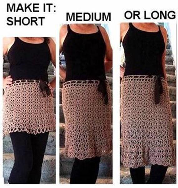 Crochet Any Length Skirt Free Pattern- Crochet Women Skirt Free Patterns