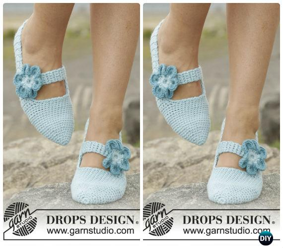 Simple Steps Flower Straps Slippers Free Pattern - Crochet Women Slippers Free Patterns