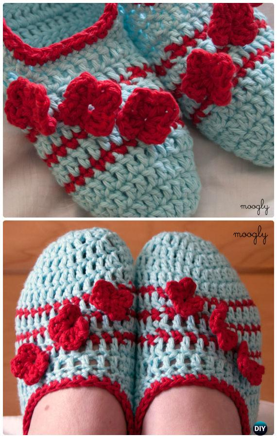 Crochet Pozy Toes Slippers Free Pattern - Crochet Women Slippers Free Patterns