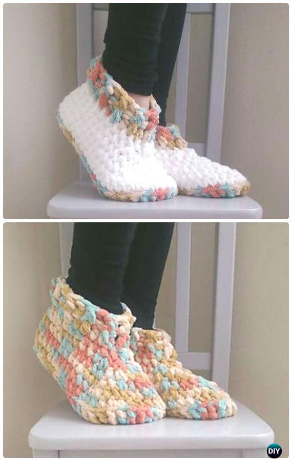 Crochet Cloud 9 Slippers Free Pattern - Crochet Women Slippers Free Patterns
