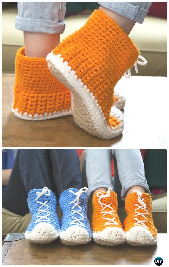 Crochet Hi-Top Slipper Socks Free Pattern - Crochet Women Slippers Free Patterns