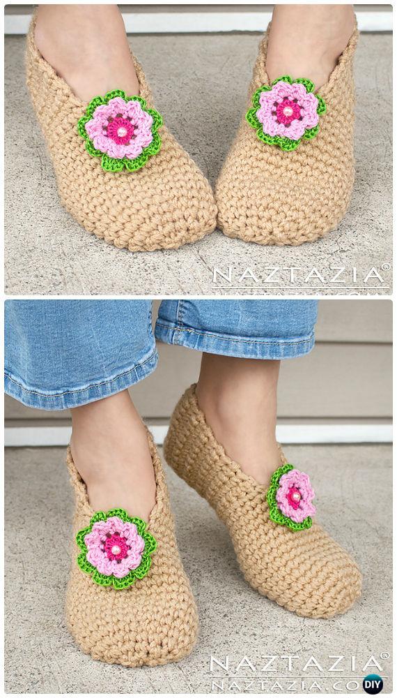 Crochet Sweet Simple Slippers Free Pattern - Crochet Women Slippers Free Patterns