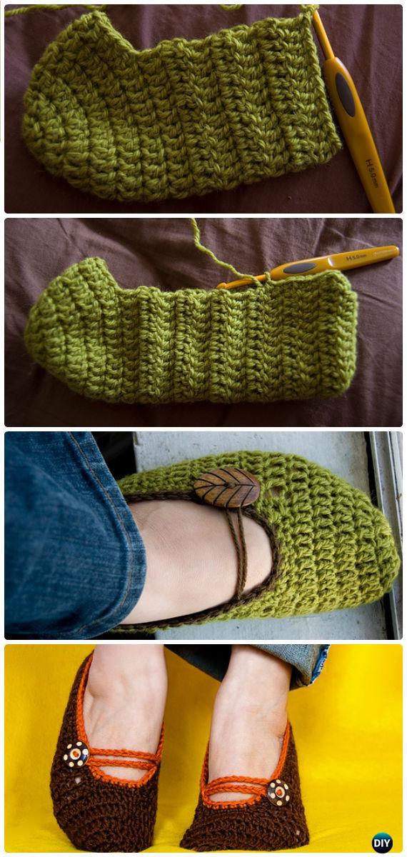 Crochet Mary Jane Slippers Free Pattern Crochet Women Slippers