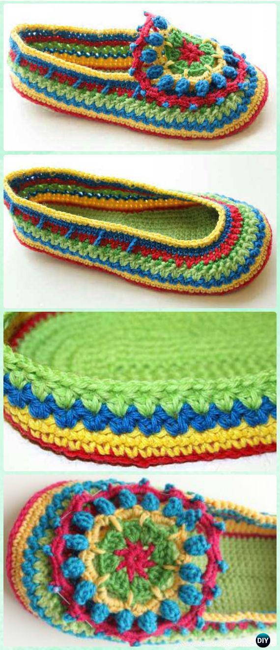 Crochet Bobble Flower Slipper Free Pattern - Crochet Women Slippers Free Patterns