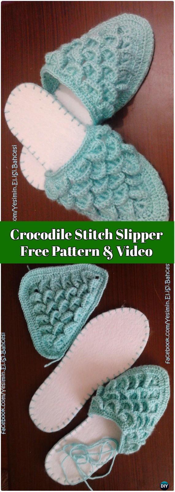 Crochet Crocodile Stitch Slippers Free Pattern Video - Crochet Women Slippers Free Patterns