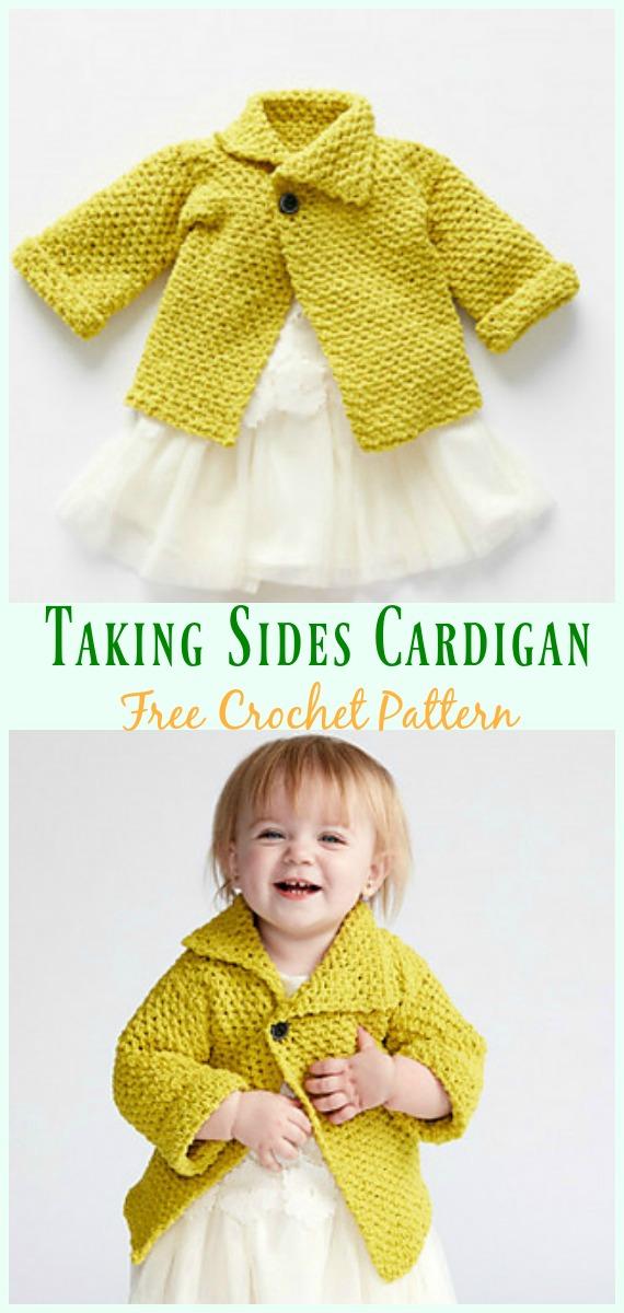 Taking Sides Crochet Cardigan Free Crochet Pattern- #Crochet Kid's #Cardigan Sweater Coat Free Patterns