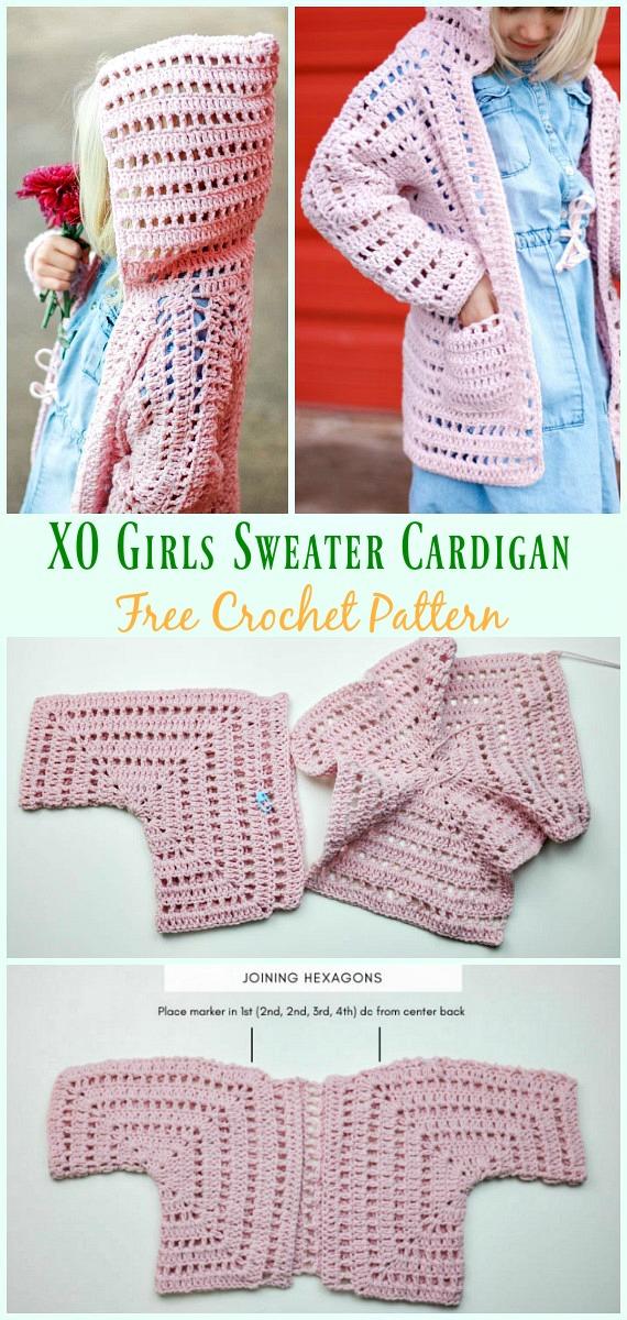 XO Girls Sweater Cardigan Free Crochet Pattern- #Crochet Kid's #Cardigan Sweater Coat Free Patterns