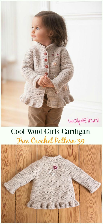 Cool Wool Girls Cardigan Free Crochet Pattern- #Crochet Kid's #Cardigan Sweater Coat Free Patterns