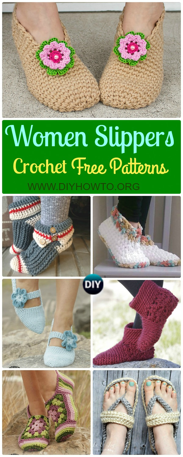 A Collection of Crochet Women Slippers Free Patterns, crochet solely with yarn or crochet with flip flop soles in different stitches.