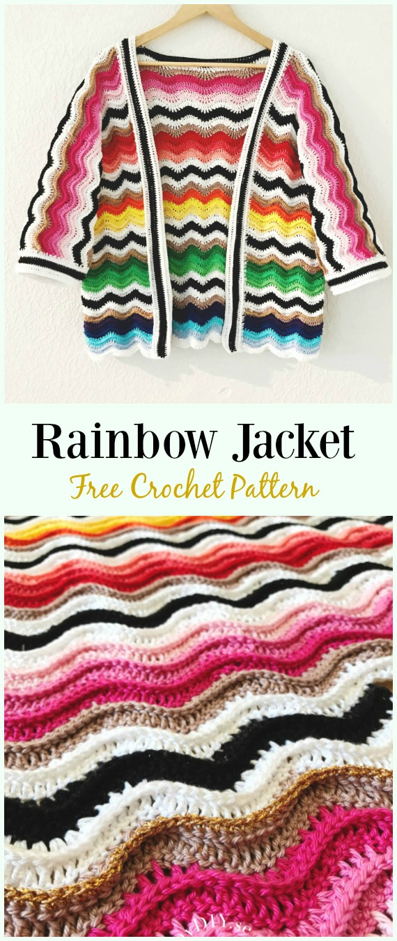 Crochet Rainbow Jacket Free Pattern - #Crochet Women Summer #Jacket Cardigan Free Patterns