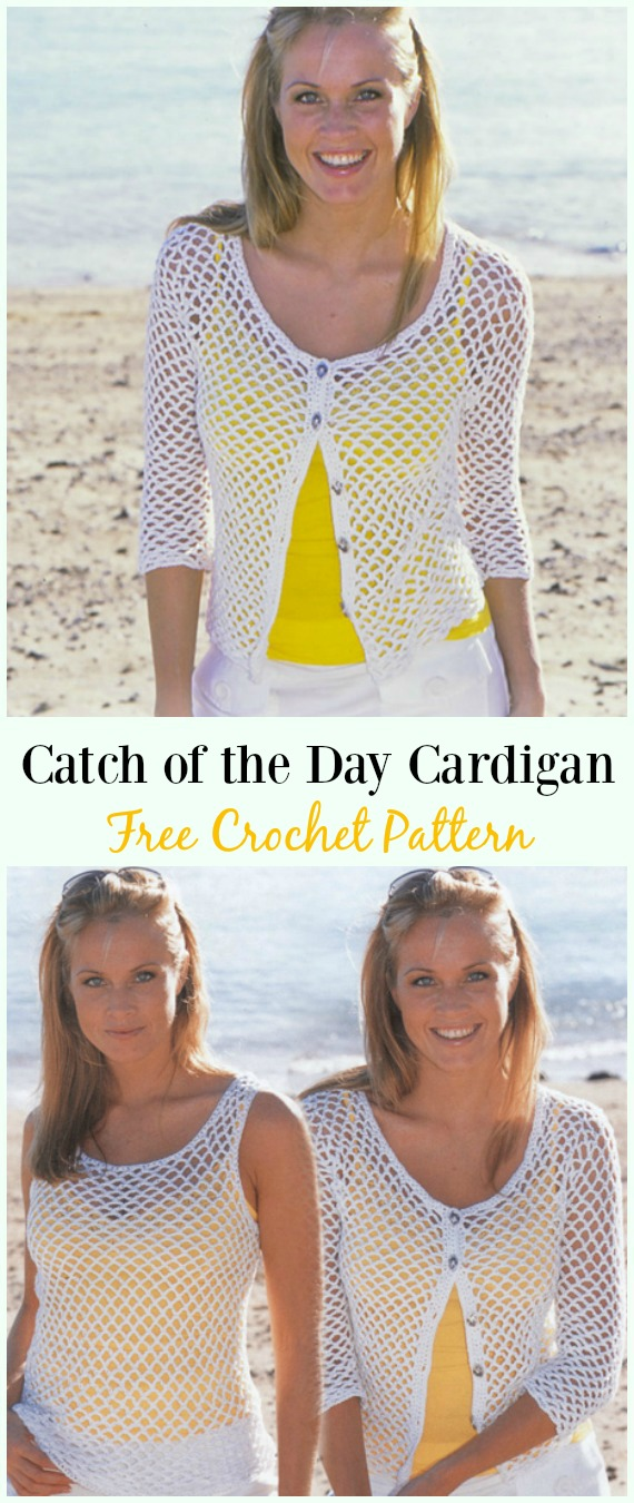 Crochet Catch of the Day Top& Cardigan Free Pattern - #Crochet Women Summer Jacket #Cardigan Free Patterns