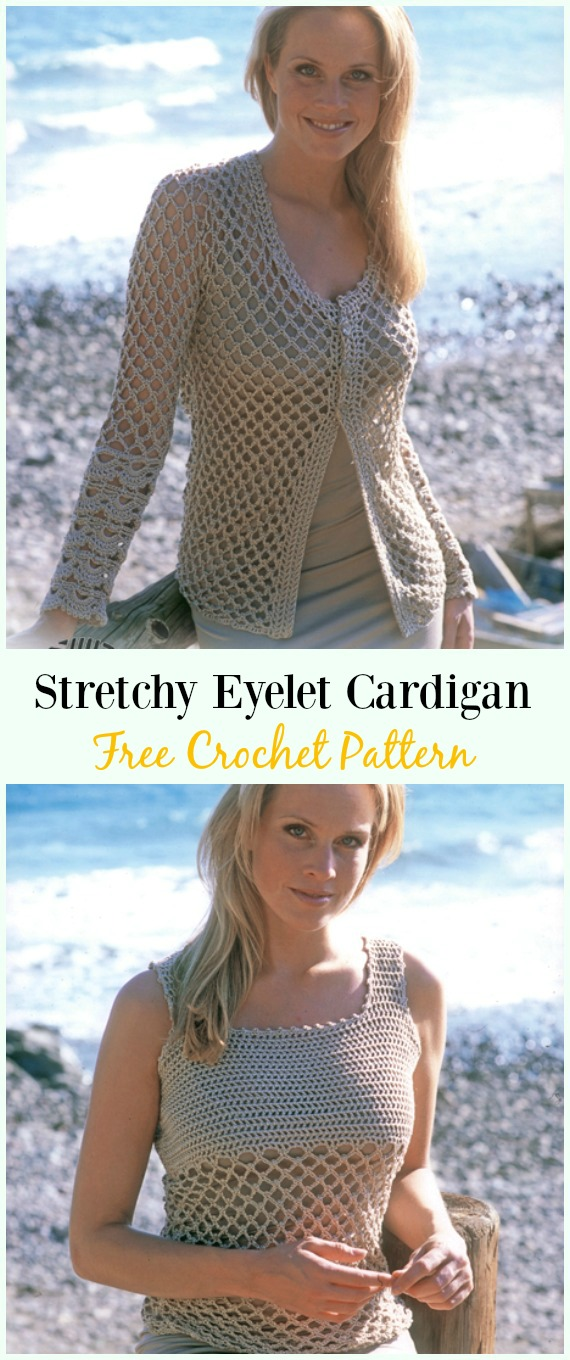 Crochet Stretchy Eyelet Cardigan Free Pattern - #Crochet Women Summer Jacket #Cardigan Free Patterns