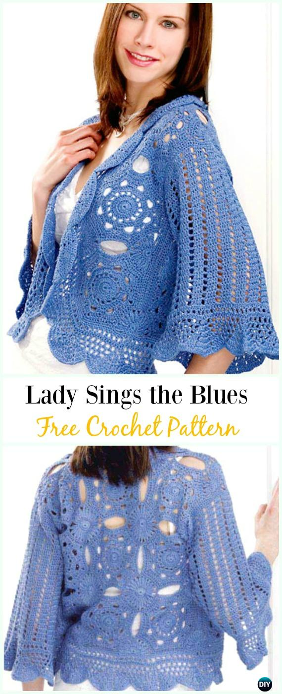 Crochet Lady Sings the Blues Free Pattern - #Crochet Women Summer Jacket #Cardigan Free Patterns