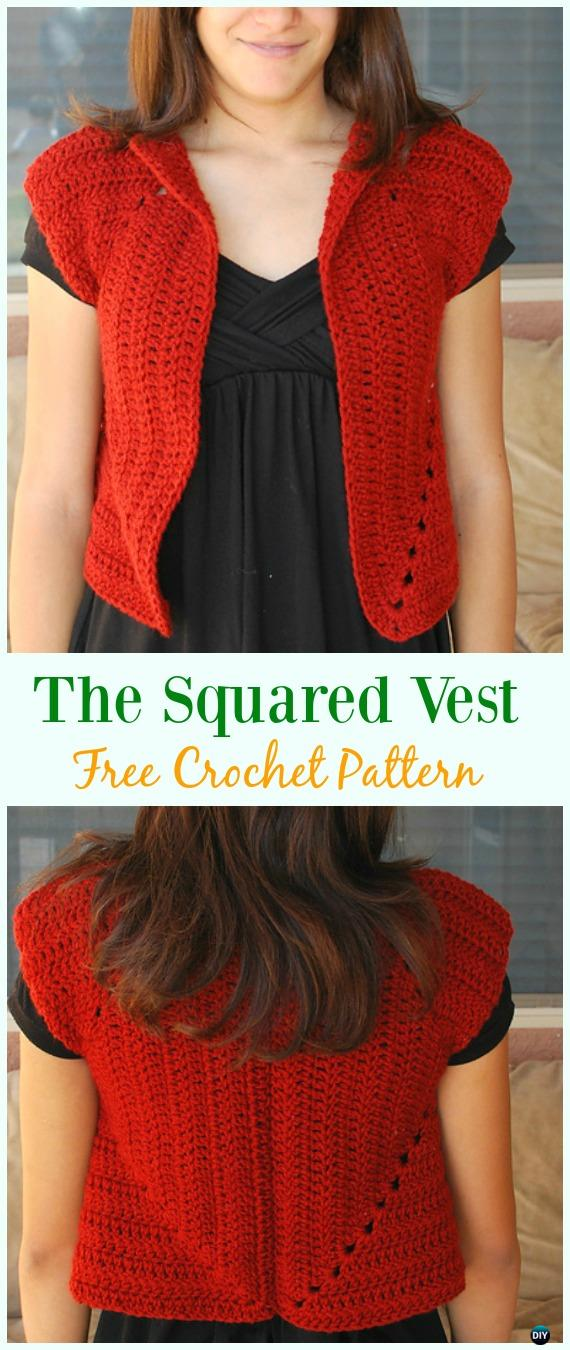 Crochet The Squared Vest Cardigan Free Pattern - Crochet Women Summer Jacket Cardigan Free Patterns